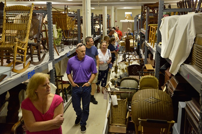 Visitors walk through the Decorative Arts collection range.