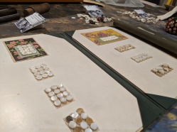 Cards of mussel shell pearl buttons