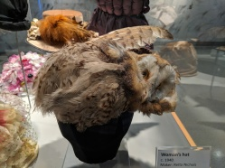 Woman's hat made by Retta Nichols c. 1940. Owls were not protected by the Migratory Bird Treaty Act until 1972.
