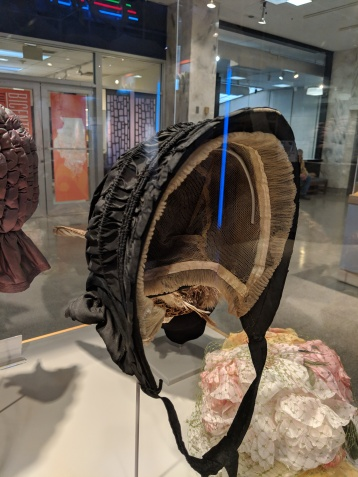 Mourning bonnet, c. 1855. Worn by Lydia Tussie Catherwood of Christian County after the death of her husband James in 1855.